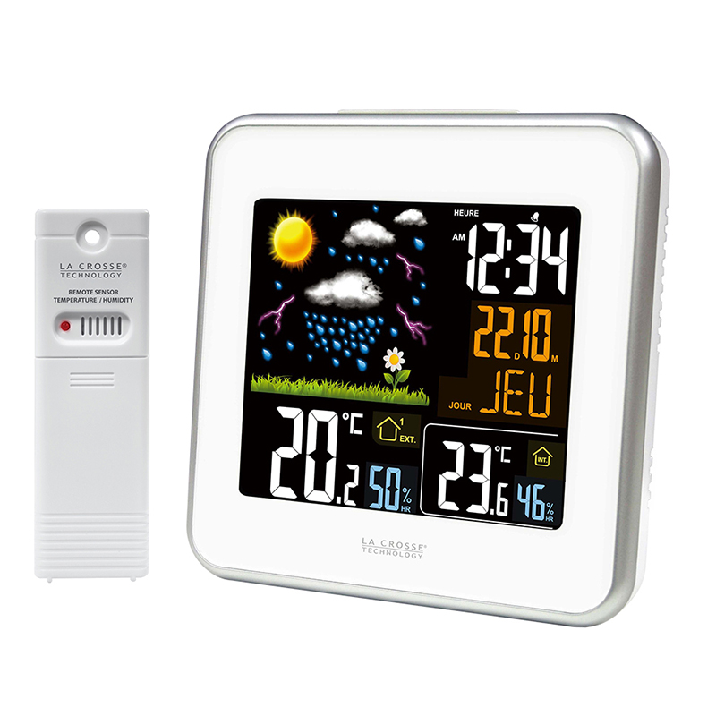 Station m t o color e la crosse technology ws6821a blanc for Station meteo temperature interieure et exterieure